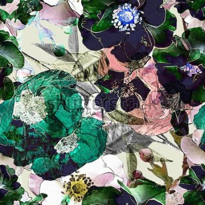 Image crayon vintage art floral coloré transparente motif avec des roses noires et des coquelicots verts sur fond clair. Double exposition et effet Bokeh