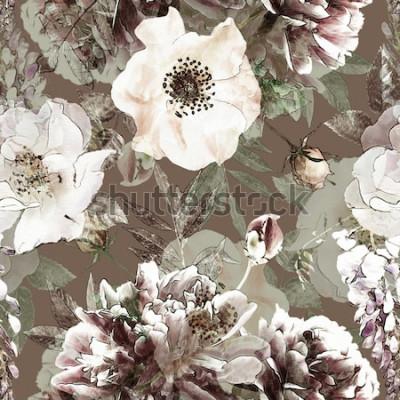 Image crayon vintage art floral coloré transparente motif avec roses blanches et pivoines sur fond vert. Double exposition et effet Bokeh