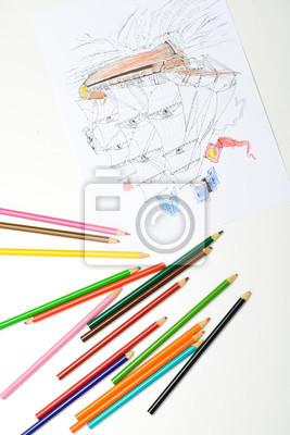 Crayons Multicolores Avec Le Dessin Du Bateau Pirate En Tole Peintures Murales Tableaux Multicolore Eleve Creativite Myloview Fr