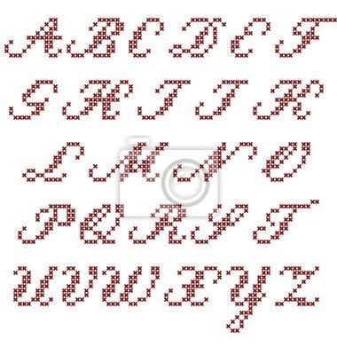 Image Croix Point Alphabet Italique Majuscule Vecteur