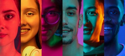 Image Cropped portraits of group of people on multicolored background in neon light. Collage made of 7 models