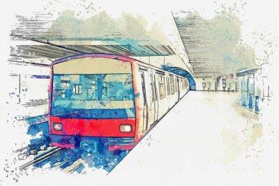 Image Croquis aquarelle ou illustration du métro de Lisbonne au Portugal. Rame de métro traditionnelle à la station de métro