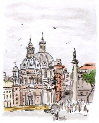 Image Croquis de la place à Rome