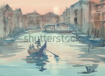 Image Croquis de Venise dans le paysage d'aquarelle de la brume matinale avec une gondole