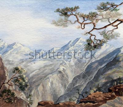 Image croquis dessiné de main avec des montagnes
