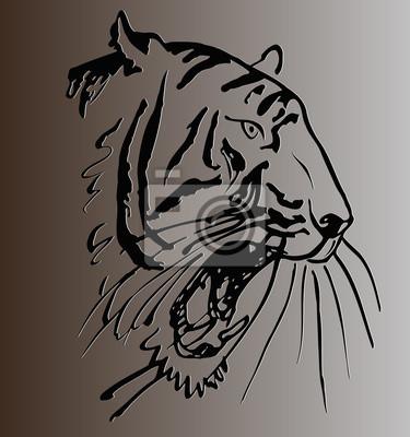 Croquis De Tatouage croquis, tatouage, tigre, tête, ouvert, bouche, contre, gris