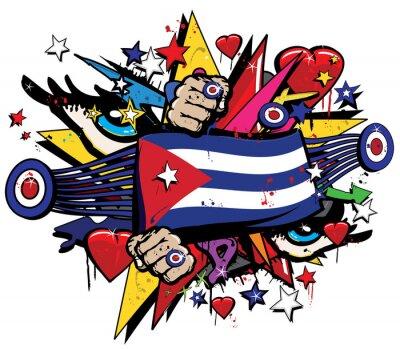 Image Cuba drapeau Havana graffiti bannière graff emblème rue art streamer jack enseigne coloré cubain révolution graff vecteur aérosol