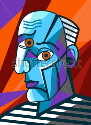Image cubiste grand peintre visage portrait peinture
