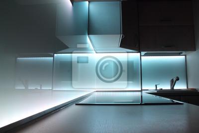 Image Cuisine De Luxe Moderne Avec Le Blanc A Mené Léclairage