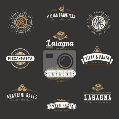 Cuisine Italienne Retro Vintage Labels Logo Hipster Peintures