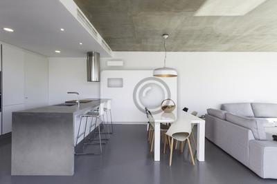 Image: Cuisine moderne avec carrelage gris et mur blanc