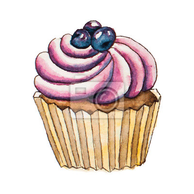 cupcake Aquarelle. Vector illustration.