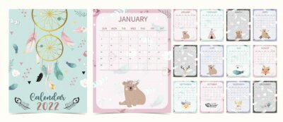 Image Cute 2022 table calendar week start on Sunday with bear cub that use for vertical digital and printable A4 A5 size