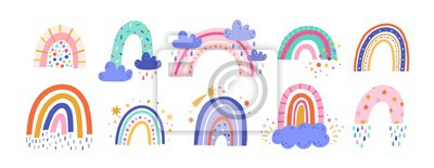 Image Cute colorful rainbows set. Childish flat vector illustrations collection. Weather forecast, meteorology. Rainy clouds and stars isolated on white background. T shirt print design element.