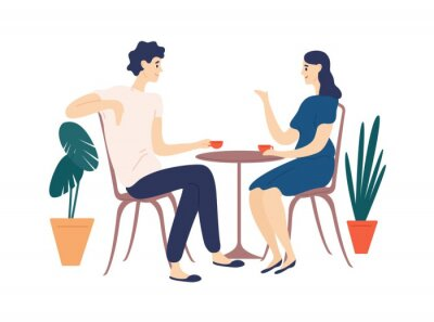Image Cute couple sitting at table, drinking tea or coffee and talking. Young funny man and woman at cafe on date. Dialog or conversation between romantic partners. Flat cartoon vector illustration.