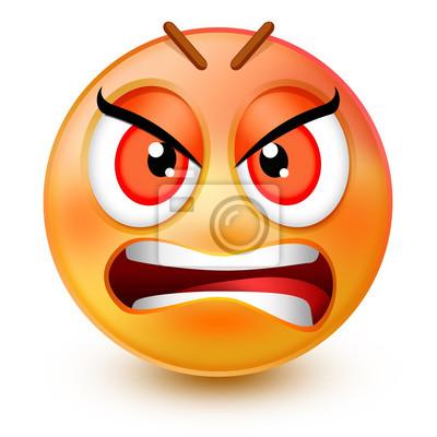 Cute Emoticone Visage Tres En Colere Ou 3d Emoji Rouge Furieux Peintures Murales Tableaux Remords Emoticones Longeron Myloview Fr