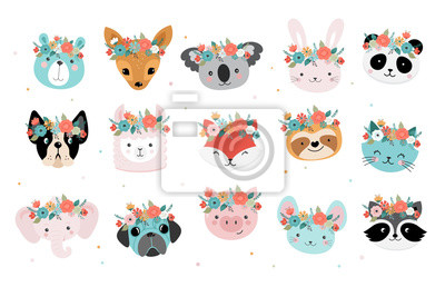 Image Cute foxes heads with flower crown, vector seamless pattern design for nursery, poster, birthday greeting cards