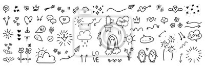 Image cute hand drawn doodle vector set, love, Natural , firework, cloud, weather, rainbow, snow, heart and creative design vector collection.