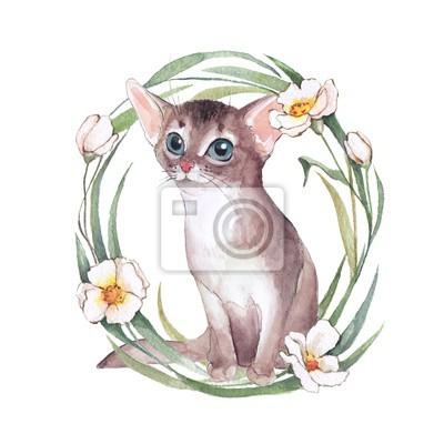 Cute kitten with wreath. Cat. Watercolor illustration
