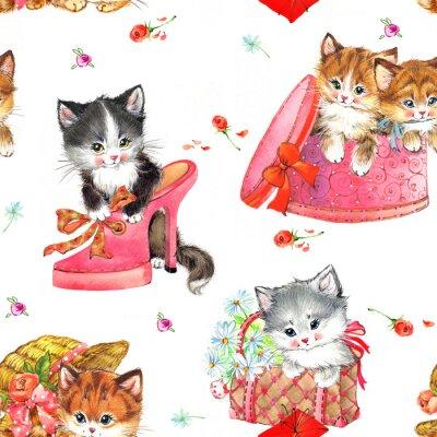 cute kittens watercolor seamless pattern