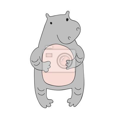 Cute Personnage Hippopotame Illustration Vectorielle En Style