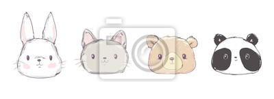 Image Cute Set Animals, Hand Drawn Cute Rabbit, Bear, Panda and Cat, Vector Illustration. Print Design. Cute Set Animals, Hand Drawn Cute Rabbit, Bear, Panda and Cat, Vector Illustration. Print Design.