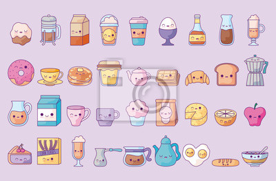 Image cute set icons style kawaii