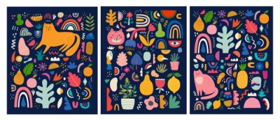 Cute spring pattern collection with cat. Modern posters. Decorative abstract collection with colorful doodles. Hand-drawn modern illustrations with cats, flowers, abstract elements