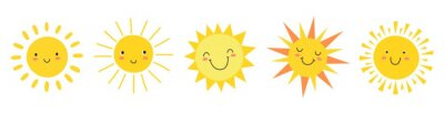 Image Cute suns. Sunshine emoji, cute smiling faces. Summer sunlight emoticons and morning sunny weather. Isolated funny smileys vector icons. Sunshine and sunny emoji, yellow face emoticon illustration