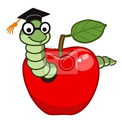 Dessin Pomme cute wizard de dessin animé en pomme peintures murales • tableaux