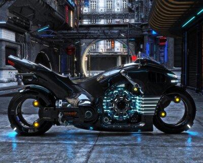 Image Cycle de lumière futuriste sur l'affichage. La moto est affichée avec un rendu 3d.3d futuriste urbain
