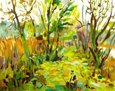 Image D'origine paysage peinture à l'huile avec l'arbre