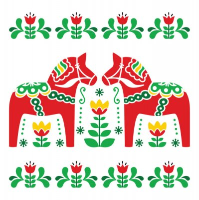 Image Dala de Suédois ou Daleclarian motif d'art populaire de cheval