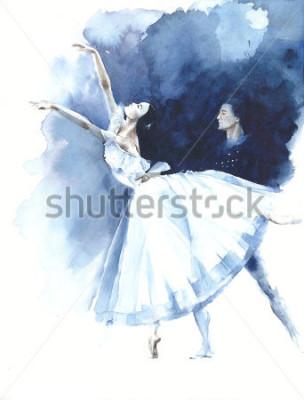 Image Danseuse de ballet ballerines Giselle aquarelle peinture illustration carte de voeux