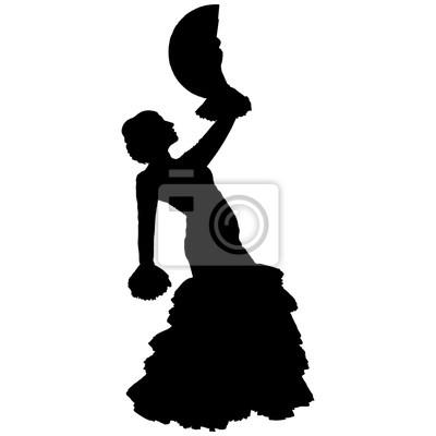 Danseuse De Flamenco Avec Un éventail Peintures Murales Tableaux