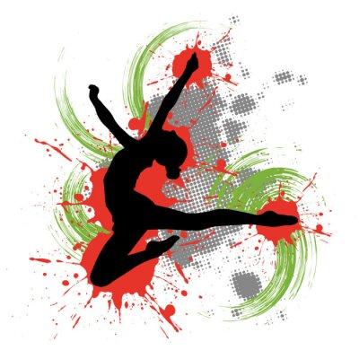 Image Danseuse devant un fond coloré avec des taches de couleur