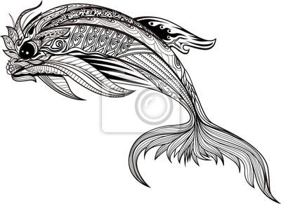 Coloriage Baleine Mandala.Dauphin Heureux Avec Des Details Eleves Coloriage Antistress