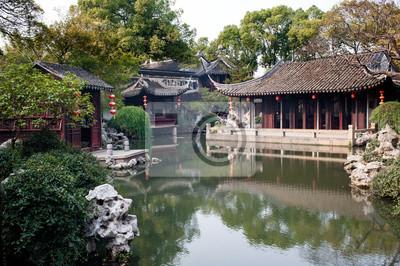 Décor de jardin chinois à suzhou peintures murales • tableaux ...
