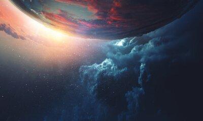 Image Deep space beauty. Planet orbit.