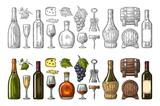 Des boissons sans cosmétiques à base de raisin. vin, brandy