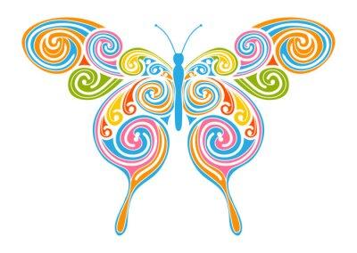 Image Dekoratives Element de Vektor - bunter, abstrakter Schmetterling mit Spiral Muster. Design Vorlage für Grußkarten und Hintergründe. Frühling, frische Farben.