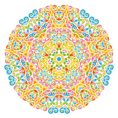 Image Dekoratives élément de Vektor - fleurs, fleurs et abstrait Mandala Muster, isoliert auf Weißem Hintergrund. Coloré, résumé, décoratif, Motif, orné, Motif, conception, éléments,