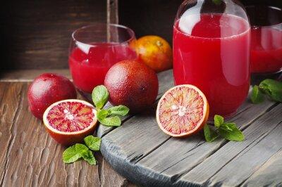 Image Délicieux, jus, rouges, oranges, menthe