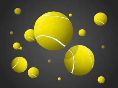 Image Déménagement Balles de tennis Voler, Tomber isolé sur fond sombre.