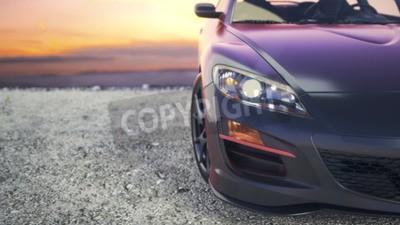 Image Des voitures de luxe proches du soleil couchant dans les coulisses.