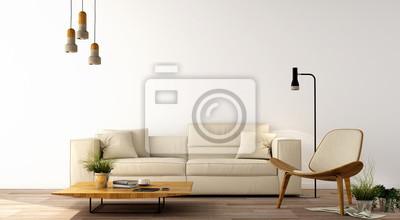Image: Design dintérieur, salon moderne avec canapé, fauteuil, table,