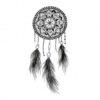 Image Dessin à La Main Mandala Dreamcatcher Avec Des Plumes Ethnique