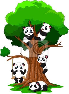 Image Dessin Animé Bébé Panda Jouant Sur Un Arbre