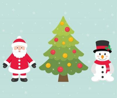 Image Dessin Animé Bonhomme De Neige Père Noël Noël Sapin