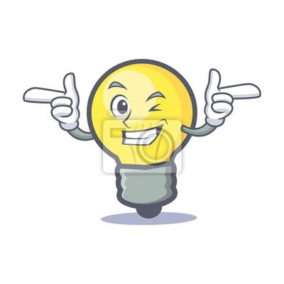 Dessin Anime Caractere Clin Doeil Ampoule Peintures Murales Tableaux Emoticones Smileys Clin D Oeil Myloview Fr